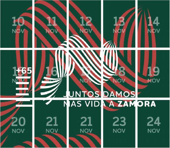 Calendario verde, rejilla y números blancos