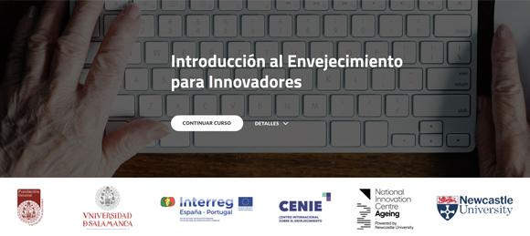 imagen del curso. Manos adultas sobre teclado de ordenador blanco. enlace al portal del CENIE, acceso al curso