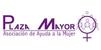 letras moradas: logotipo PLAZA MAYOR: Asociación de Ayuda a la Mujer